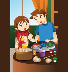 kids painting easter eggs vector image