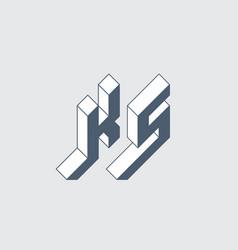 Ks - logo or 2-letter code isometric 3d font vector