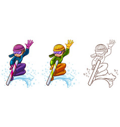 Man on snowboard in three different drawing styles vector