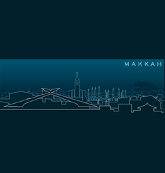 Mecca multiple lines skyline and landmarks vector