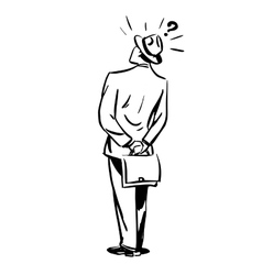 Misunderstanding questions businessman standing vector image
