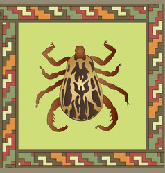 Mite color in mexican ornament frame vector