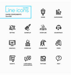 Mmog - modern single line icons set vector