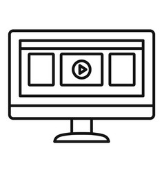 monitor play video icon outline style vector image