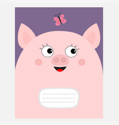 notebook cover composition book template pink pig vector image
