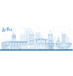 Outline la paz bolivia city skyline with blue vector