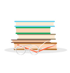 Pile literature open book and glasses closeup vector