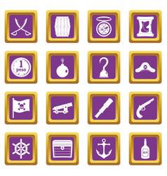 Pirate icons set purple vector
