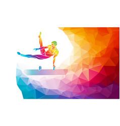 Pommel horse male gymnast in artistic gymnastics vector