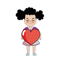 pretty girl with heart and casual wear vector image vector image