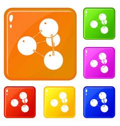 Pyramide molecule icons set color vector