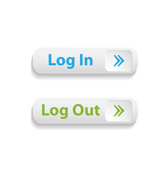 realistic web login and log out buttons isolated vector image