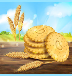 Realistic wheat cookies packaging ad vector