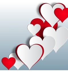 Red and white heart on a gradient background vector image vector image