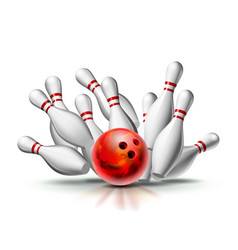red bowling ball crashing into pins vector image