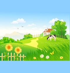 rural scene with a cow vector image