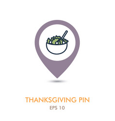 Salad bowl mapping pin icon harvest thanksgiving vector