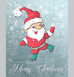 santa claus skating on ice vector image