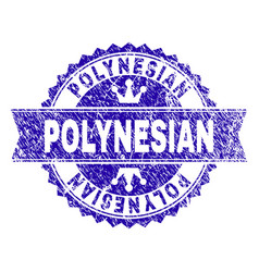 Scratched textured polynesian stamp seal with vector