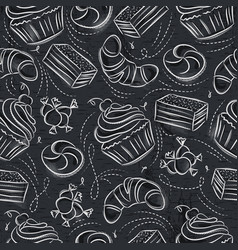 Seamless patterns with cupcake croissan cake and vector