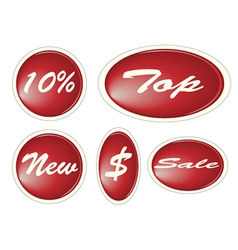 Set of red circle labels vector