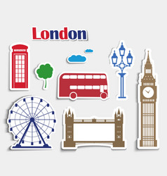 Set of stickers for the journey to London vector image