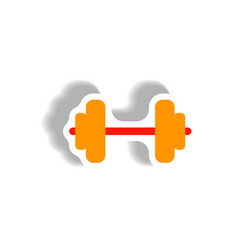 Stylish icon in paper sticker style barbell sport vector