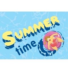 Summer time fat woman on mattress swim vector image