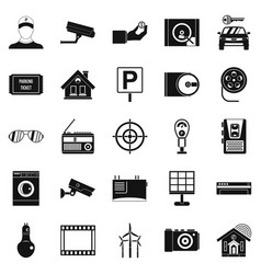 Surveillance cameras icons set simple style vector