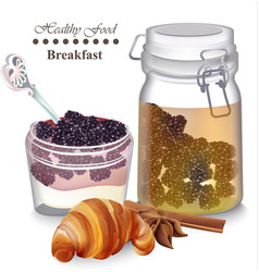 Sweet delicious breakfast dessert yogurt vector