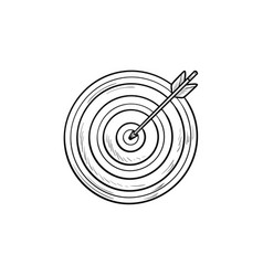 target with arrow hand drawn outline doodle icon vector image