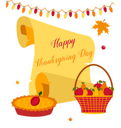 thanksgiving background with pie basket of fruits vector image