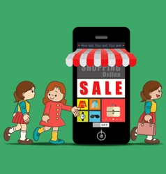 The girls doing online shopping vector image vector image