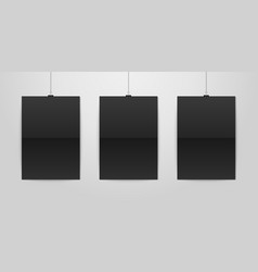 three realistic black blank vertical a4 vector image