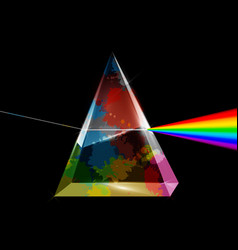 Transparent prism with colorful splashes on dark vector