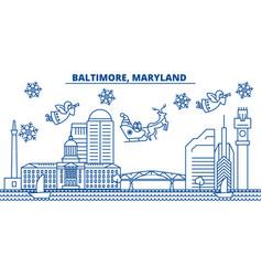 Usa maryland baltimore winter city skyline vector