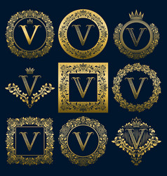 vintage monograms set of v letter vector image