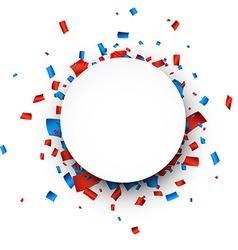 White round paper note over confetti vector