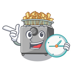 With clock character deep fryer on restaurant vector