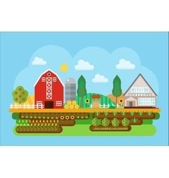 agricultural village landscape flat concept vector image