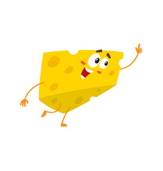 cute and funny cheese chunk character pointing up vector image vector image