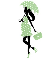 Pregnant lady with umbrella vector image vector image