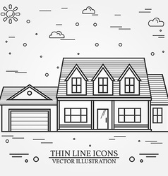 thin line icon suburban american house For web vector image vector image