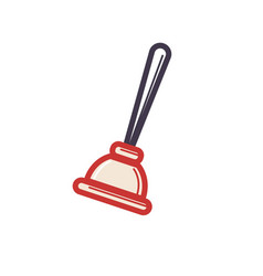 toilet rubber plunger red cup on white background vector image vector image