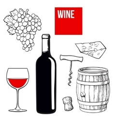 Wine set of bottle glass barrel grapes cheese vector