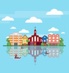 flat spring city landscape concept vector image vector image
