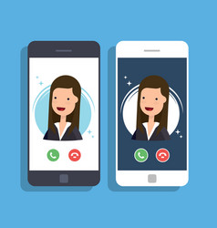 incoming call on mobile phone businesswoman or vector image vector image
