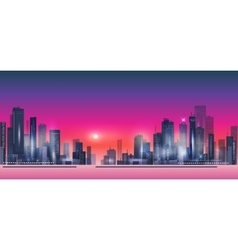 Modern night city skyline at sunset vector image vector image