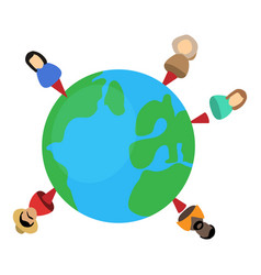 people planet icon isometric 3d style vector image
