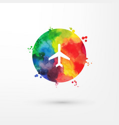 rainbow grungy watercolor air plane icon vector image vector image